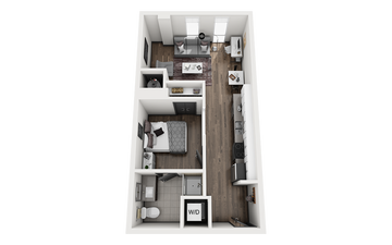1x1 - STEAMBOAT B Floor Plan Image
