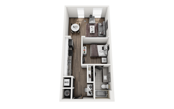 1x1 - STEAMBOAT C Floor Plan Image